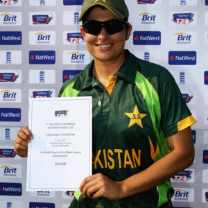 With a smiling face Sana Mir poses with her NatWest Player of the match award in 2nd NatWest women's intl. t20